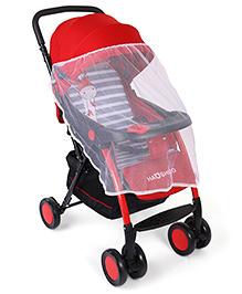 Baby Stroller Cum Pram With Mosquito Net - Red & Black