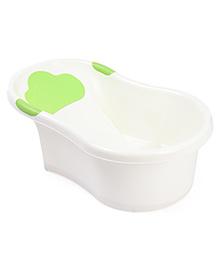 Baby Bath Tub With Drain Plug Fish Print - White Green