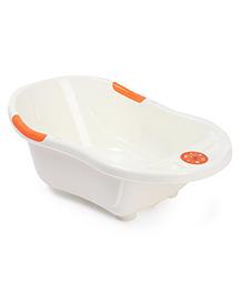 Baby Bath Tub With Drain Plug Kitty Print - White Orange