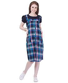 MomToBe Checks Maternity Dress- Oxford Blue (m)