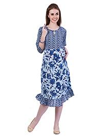 MomToBe Frill Maternity Dress - Oxford Blue