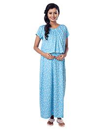Kriti Half Sleeves Maternity Nursing Nighty Floral Print - Blue