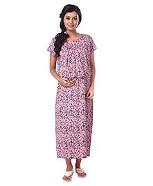 Kriti Half Sleeves Maternity Nursing Nighty Floral Print - Pink