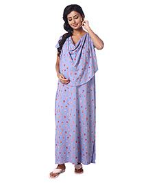 Kriti Half Sleeves Maternity Nursing Nighty Floral Print - Lavender
