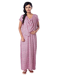 Kriti Half Sleeves Maternity Nursing Nighty Square Print - Pink