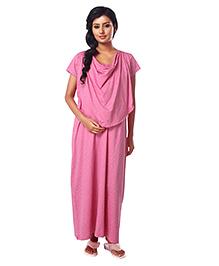Kriti Half Sleeves Maternity Nursing Nighty Polka Dots Print - Pink