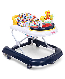 Musical Walker With Play Tray - White & Navy Blue