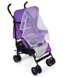 Baby Stroller Cum Pram With Mosquito Net - Purple