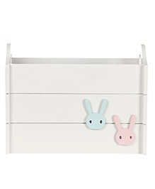 Fly Frog Wooden Storage Box With Bunny Theme - Blue Pink