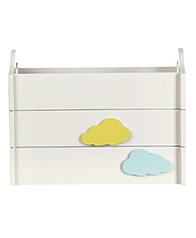 Fly Frog Wooden Storage Box With Cloud Theme - Blue Yellow