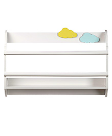 Fly Frog Curved Shape Wooden Wall Shelf Clouds Theme - Yellow Blue