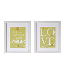 Fly Frog Text Theme Wooden Wall Art Set Of 2 - Yellow