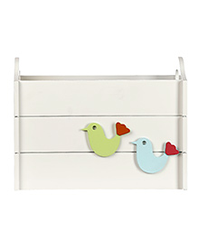 Fly Frog Wooden Storage Box With Bird Theme - Blue Green
