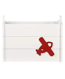 Fly Frog Wooden Storage Box With Airplane Theme - Red