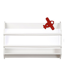 Fly Frog Curved Shape Wooden Wall Shelf Airplane Theme - Red