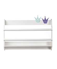 Fly Frog Curved Shape Wooden Wall Shelf Crown Theme - Purple Blue
