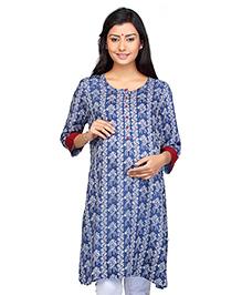 Kriti Three Fourth Sleeves Maternity Nursing Kurti Floral Print - Blue