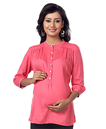Kriti Three Fourth Sleeves Nursing Top - Pink