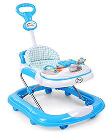 Musical Baby Walker With Push Handle - Blue & White - 1869984