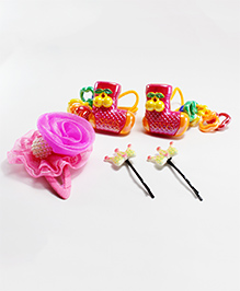 Milyra Flower & Crown Hair Clip With Rubber Band - Pink Red & White