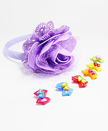 Milyra Flower Hair Band With Clips - Multicolor - 1872116