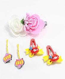 Milyra Floral Hair Clip With Crown Hair Pin - Multicolor