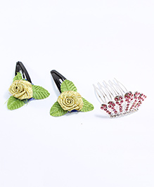 Milyra Flower Hair Clip With Crown Comb Clip - Multicolor