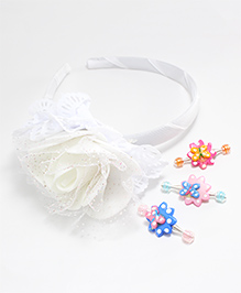 Milyra Flower Hair Band With Clips - Multicolor