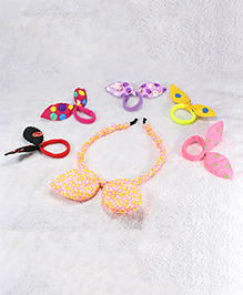Pihoo Hair Band & Rubber Band Combo Set- Multicolor & Peach
