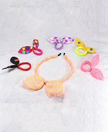 Pihoo Hair Band & Rubber Band Combo Set- Multicolor & Peach