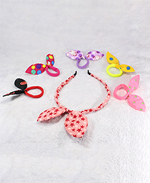 Pihoo Hair Band & Rubber Band Combo Set- Multicolor & Pink