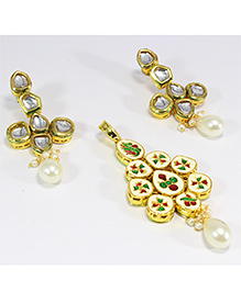 Pihoo Pendant & Earrings - Golden & Silver