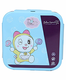Doraemon Lunch Box With Spoon Fork & Small Box - Light Blue