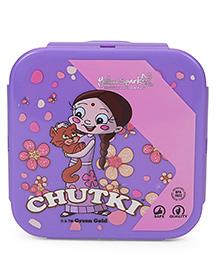 Chutki Lunch Box With Spoon Fork & Small Box - Purple