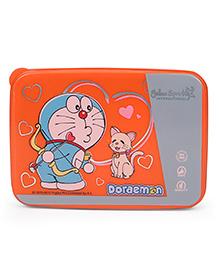 Doraemon Lunch Box With Spoon Fork & Small Box - Orange Grey