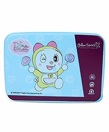 Doraemon Lunch Box With Spoon Fork & Small Box - Blue Purple