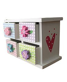 GeekGoodies Wooden Drawer Flower Design - Multi Colour