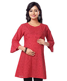 Kriti Three Fourth Sleeves Nursing Tunic Floral Print  - Red