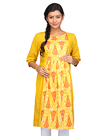 Kriti Three Fourth Sleeves Maternity Nursing Kurti Tree Print - Yellow