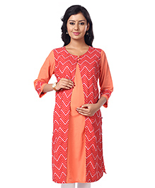 Kriti Three Fourth Sleeves Maternity Nursing Kurti Chevron Print - Orange