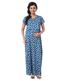 Kriti Short Sleeves Maternity Nursing Nighty Floral Print - Blue