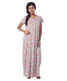 Kriti Half Sleeves Knit Maternity Nursing Nighty Chevron & Floral Print - Aqua Blue
