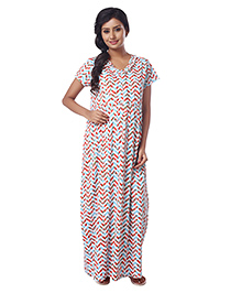 Kriti Half Sleeves Knit Maternity Nursing Nighty Chevron & Floral Print - Aqua Blue