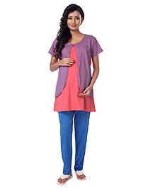 Kriti Short Sleeves Maternity Nursing Night Wear Floral Print - Coral Blue