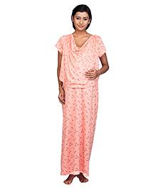 Kriti Half Sleeves Maternity & Nursing Nighty Floral Print - Peach