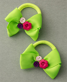 Ribbon Candy Rubber Band With Buttons - Neon Green