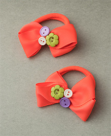 Ribbon Candy Rubber Band With Buttons - Neon Orange