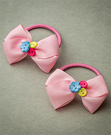 Ribbon Candy Rubber Band With Buttons - Baby Pink