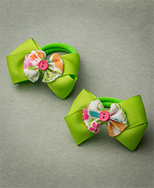 Ribbon Candy Rubber Band With A Floral Centre - Green Pink & White