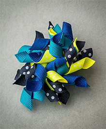 Ribbon Candy Double Dot Korkers Hair Clip - Navy & Fluoroscent